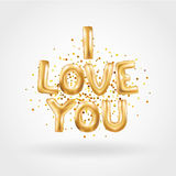 I love you gold balloons. I love you letter. Valentines day card. Gold background for flyer, poster, sign, banner, web header. Abstract golden background text Stock Photo