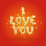 I love you gold balloons. I love you gold letters balloons balloons on red. I love you Valentines day card. Gold background for flyer, poster, sign, banner, web Royalty Free Stock Images