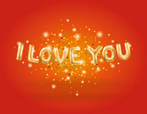 I love you gold balloons stock illustration