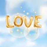 I love you gold balloons Stock Photos