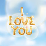 I love you gold balloons. I love you gold letters balloons in the sky. Heart gold characters balloons in the air. Celebration party, date, invitation, event Royalty Free Stock Photo