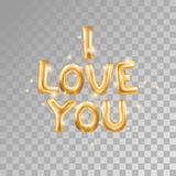 I love you gold balloons. I love you gold letters balloons balloons on transparent. I love you. Valentines day card. Gold background for flyer, poster, sign Stock Photography
