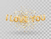 I love you gold balloons. I love you gold letters balloons on transparent. I love you. Valentines day card. Gold background for flyer, poster, sign, banner, web Stock Image