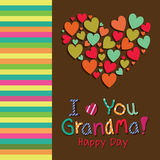 I love you grandma. Text with a big abstract heart on special background royalty free illustration