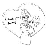 I Love You Granny card. Vector Illustration Stock Photo