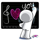 I love you graph in year write on black boad Royalty Free Stock Photography