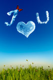 I love you greeting card with cloud letters Stock Image