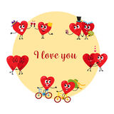 I love you, greeting card with couples of heart characters Royalty Free Stock Images