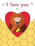 I love you greeting card of cute bear eating honey on honeycomb background royalty free illustration