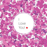 I love you. Greeting card with decorative hearts. vector illustration