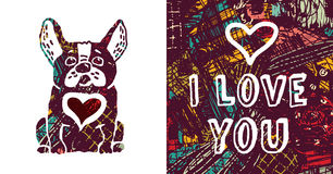 I love you greeting card dog and heart. Royalty Free Stock Image