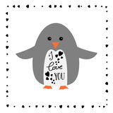 I love you - greeting card for Happy Valintines Day. Cute penguin. Calligraphy sign. I love you - greeting card for Happy Valintines Day Royalty Free Stock Image
