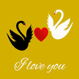 I love you greeting card with a heart and swans Stock Image