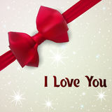 I love you. Greeting card for lovers with red bow. Stock Image