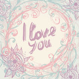 I love you. Greeting Card template in vintage. hand lettering - Royalty Free Stock Photo