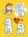 Four funny puppies with lettering I woof you. Vector illustration. I love you greeting postcard. Vector Illustration can be used as print or card Stock Image