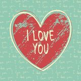 I love you hand draw card Stock Photos
