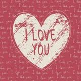 I love you hand draw card Stock Photo