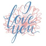 I Love You hand drawn lettering with gerbera flower. Vector illustration. Royalty Free Stock Image