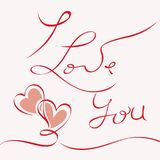I LOVE YOU hand drawn lettering -- handmade calligraphy,. Vector Royalty Free Stock Photo