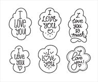 I love you hand drawn lettering inscription set Stock Photos