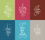 I love you hand drawn lettering inscription set Stock Image