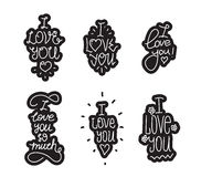 I love you hand drawn lettering inscription set Royalty Free Stock Photos