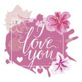 I Love You hand drawn lettering with pink watercolor splash and lily flowers. Vector illustration. Stock Images