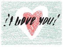 I love you hand drawn letters card. Royalty Free Stock Images