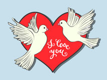 I love you. Hand drawn print with lettering and a couple of pigeons birds Royalty Free Stock Image