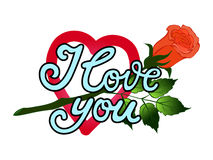 I love you. Hand drawn print with lettering. Vector illustration can be used as a poster, print, greeting card for Valentine`s day Stock Photo