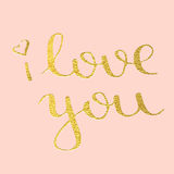 I love you hand drawn text calligraphy for Valentine Day greeting card. I love you, hand-drawn calligraphy text for Valentine`s Day cards. Golden calligraphic Stock Photography