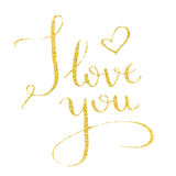 I love you hand drawn text calligraphy for Valentine Day greeting card. I love you, hand-drawn calligraphy text for Valentine`s Day cards. Golden calligraphic Stock Photos