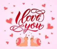 I love you. Hand letterenig modern calligraphy with flourish.Vector vector illustration