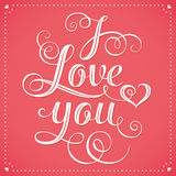 I Love You Hand lettering Greeting Card Royalty Free Stock Image