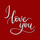 I Love You Hand Lettering Greeting Card. Modern Calligraphy. Vector Illustration royalty free illustration