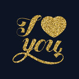 I love you. Hand lettering and handmade calligraphy. Stock Image