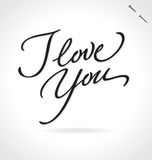 I LOVE YOU hand lettering (vector) Royalty Free Stock Image