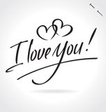 I LOVE YOU hand lettering (vector) Stock Images
