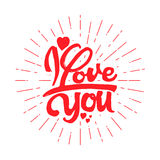 I love you Hand-lettering text . Handmade vector calligraphy for your design Royalty Free Stock Image