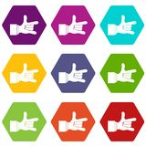 I Love You hand sign icon set color hexahedron Royalty Free Stock Photography