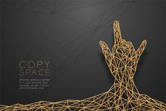 I love you Hand sign language shape back view wireframe Polygon golden frame structure, valentine concept design illustration. Isolated on black gradient Stock Photos