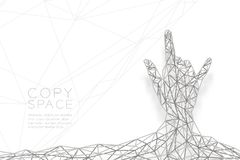 I love you Hand sign language shape back view wireframe Polygon silver frame structure, valentine concept design illustration. Isolated on black gradient Royalty Free Stock Photos