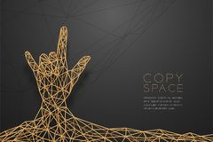 I love you Hand sign language shape front view wireframe Polygon golden frame structure, valentine concept design illustration. Isolated on black gradient Stock Image