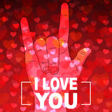 I Love you hand sign with many hearts on red background Royalty Free Stock Photos