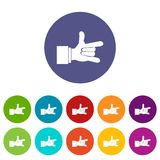 I Love You hand sign set icons Royalty Free Stock Image