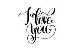 I love you hand written lettering positive quote Stock Photo