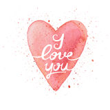 I love you. Handmade watercolor postcard with heart. Stock Image