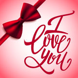I love you handwritten brush pen lettering and red bow, Valentine's Day, vector Royalty Free Stock Images