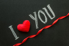 I Love You. Handwritten message on a chalkboard. Stock Images